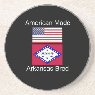"""American Born..Arkansas Bred"" Flag Design Beverage Coaster"