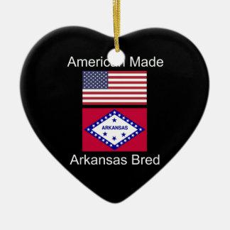"""American Born..Arkansas Bred"" Flag Design Ceramic Ornament"