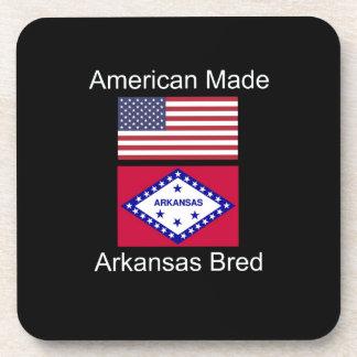 """American Born..Arkansas Bred"" Flag Design Drink Coaster"