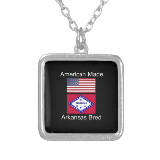 """American Born..Arkansas Bred"" Flag Design Silver Plated Necklace"