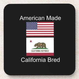 """""""American Born..California Bred"""" Flag Design Beverage Coasters"""