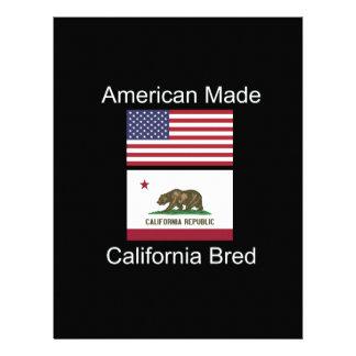 """American Born..California Bred"" Flag Design Customized Letterhead"