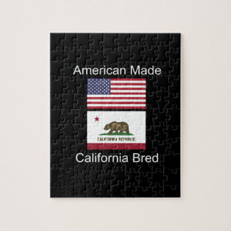 """American Born..California Bred"" Flag Design Jigsaw Puzzle"