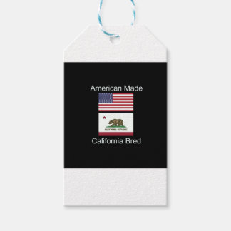 """""""American Born..California Bred"""" Flag Design Pack Of Gift Tags"""