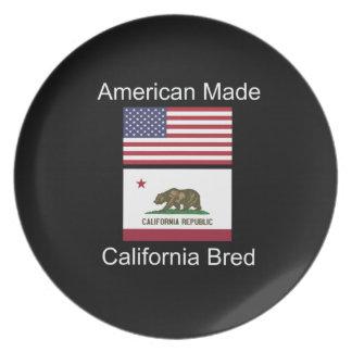 """""""American Born..California Bred"""" Flag Design Plate"""