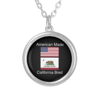 """American Born..California Bred"" Flag Design Silver Plated Necklace"