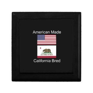 """American Born..California Bred"" Flag Design Trinket Box"