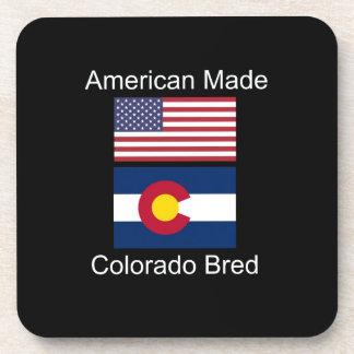 """American Born..Colorado Bred"" Flag Design Beverage Coaster"