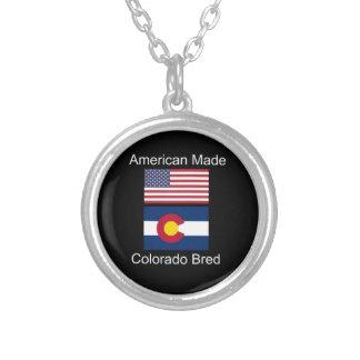 """American Born..Colorado Bred"" Flag Design Silver Plated Necklace"