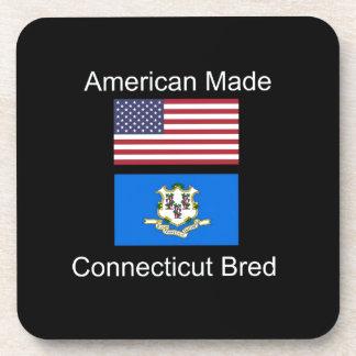 """American Born..Connecticut Bred"" Flag Design Coaster"
