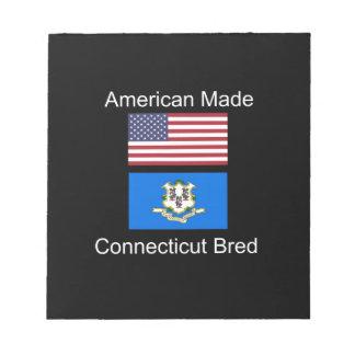 """American Born..Connecticut Bred"" Flag Design Notepad"