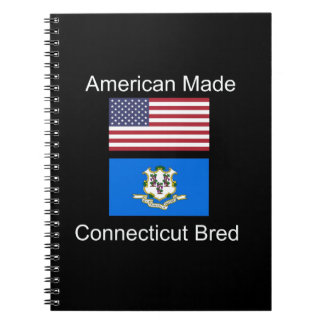 """American Born..Connecticut Bred"" Flag Design Spiral Notebook"