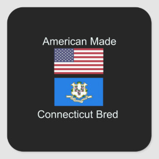 """American Born..Connecticut Bred"" Flag Design Square Sticker"