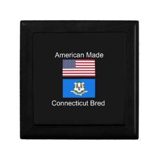 """American Born..Connecticut Bred"" Flag Design Trinket Box"
