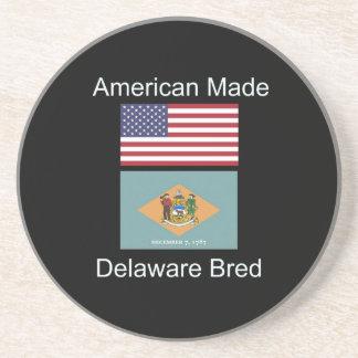 """American Born..Delaware Bred"" Flag Design Beverage Coaster"