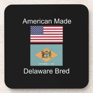 """American Born..Delaware Bred"" Flag Design Drink Coaster"