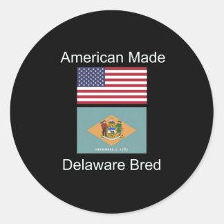 """""""American Born..Delaware Bred"""" Flag Design Round Sticker"""