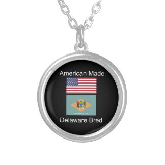 """American Born..Delaware Bred"" Flag Design Silver Plated Necklace"
