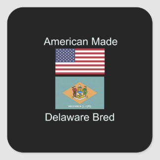 """""""American Born..Delaware Bred"""" Flag Design Square Sticker"""
