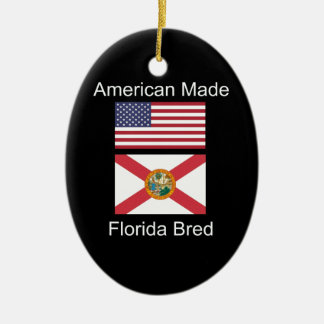 """American Born..Florida Bred"" Flags and Patriotism Ceramic Oval Ornament"