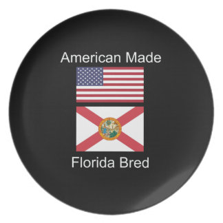 """American Born..Florida Bred"" Flags and Patriotism Dinner Plate"