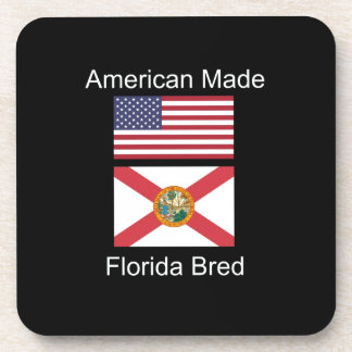 """""""American Born..Florida Bred"""" Flags and Patriotism Drink Coasters"""