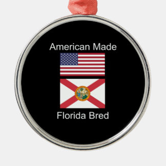 """American Born..Florida Bred"" Flags and Patriotism Silver-Colored Round Ornament"