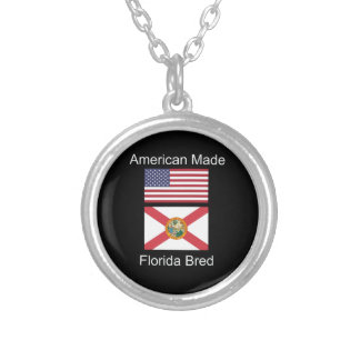 """""""American Born..Florida Bred"""" Flags and Patriotism Silver Plated Necklace"""