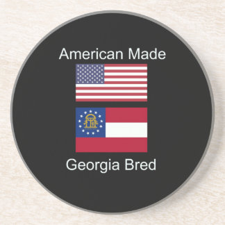 """American Born..Georgia Bred"" Flags and Patriotism Coaster"