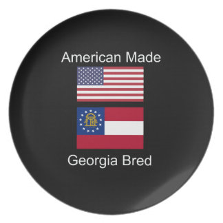 """""""American Born..Georgia Bred"""" Flags and Patriotism Dinner Plate"""