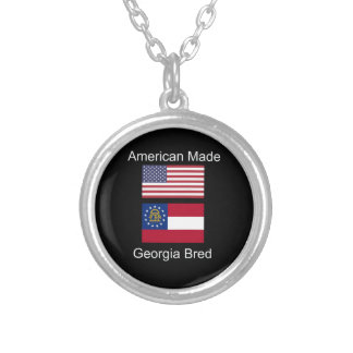 """""""American Born..Georgia Bred"""" Flags and Patriotism Silver Plated Necklace"""