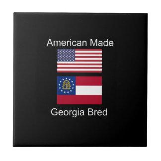 """American Born..Georgia Bred"" Flags and Patriotism Tile"