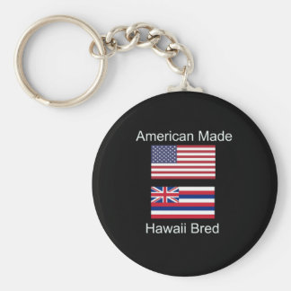 """American Born..Hawaii Bred"" Flags and Patriotism Keychain"