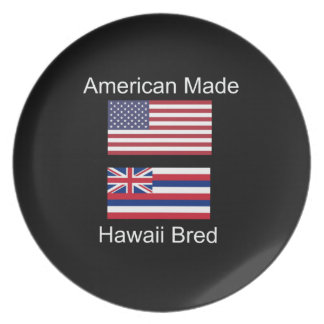 """American Born..Hawaii Bred"" Flags and Patriotism Party Plate"