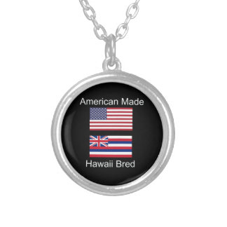 """""""American Born..Hawaii Bred"""" Flags and Patriotism Silver Plated Necklace"""