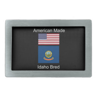 """American Born..Idaho Bred"" Flags and Patriotism Rectangular Belt Buckle"
