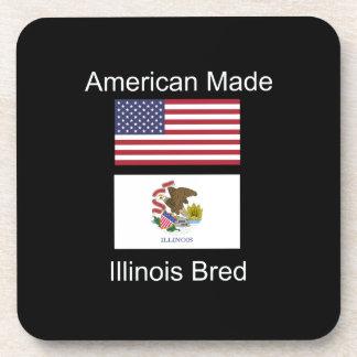 """""""American Born..Illinois Bred"""" Flag Design Drink Coaster"""