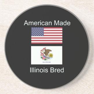 """American Born..Illinois Bred"" Flag Design Drink Coasters"