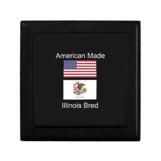 """""""American Born..Illinois Bred"""" Flag Design Gift Box"""