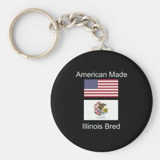 """American Born..Illinois Bred"" Flag Design Keychain"