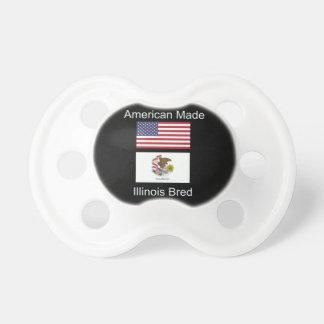 """American Born..Illinois Bred"" Flag Design Pacifiers"