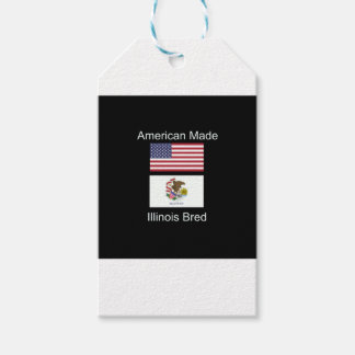 """""""American Born..Illinois Bred"""" Flag Design Pack Of Gift Tags"""
