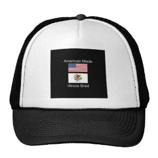 """American Born..Illinois Bred"" Flag Design Trucker Hat"