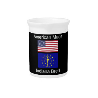 """""""American Born..Indiana Bred"""" Flags and Patriotism Pitcher"""