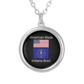 """""""American Born..Indiana Bred"""" Flags and Patriotism Silver Plated Necklace"""