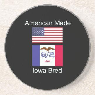 """American Born..Iowa Bred"" Flags and Patriotism Coaster"
