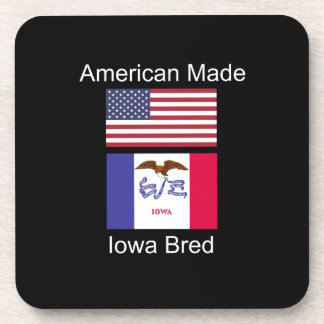 """""""American Born..Iowa Bred"""" Flags and Patriotism Drink Coasters"""