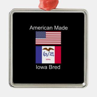 """American Born..Iowa Bred"" Flags and Patriotism Metal Ornament"