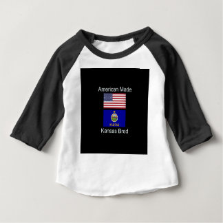 """American Born..Kansas Bred"" Flags and Patriotism Baby T-Shirt"