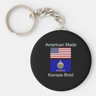 """American Born..Kansas Bred"" Flags and Patriotism Basic Round Button Keychain"